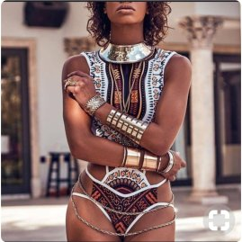high neck ethnic monokini