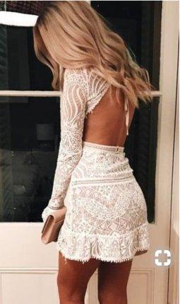 cut out back lace dress