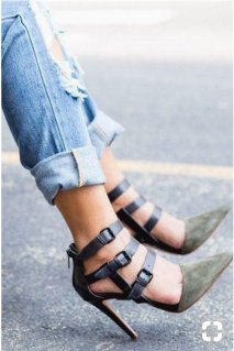 pointed toe buckle detail shoes
